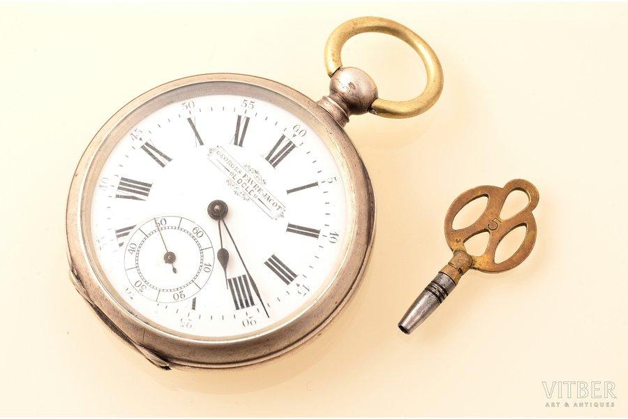 """pocket watch, """"Georges Favre Jaсot"""", men, with key, Switzerland, silver, 875 standart, 71.60 g, 7 x 4.8 cm, 42 mm, in working condition"""