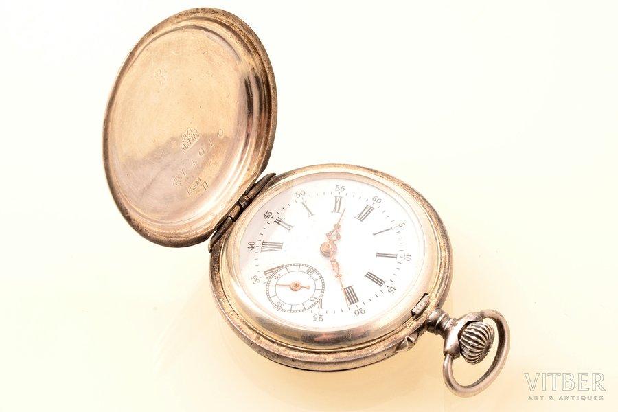 """pocket watch, """"Kramer & Moser"""", women, Switzerland, silver, 875 standart, 29.75 g, 4.7 x 3.4 cm, 27 mm, in working condition"""