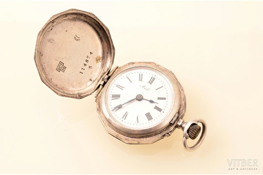 "pocket watch, ""Cylindre"", women, Switzerland, silver, 875 standart, 25.60 g, 4.3 x 3 cm, 23.5 mm, crack on the dial, in working condition"