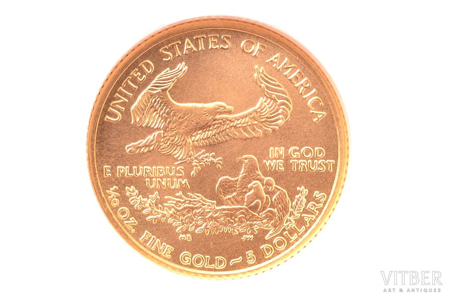 5 долларов, 2002 г., золото, С...