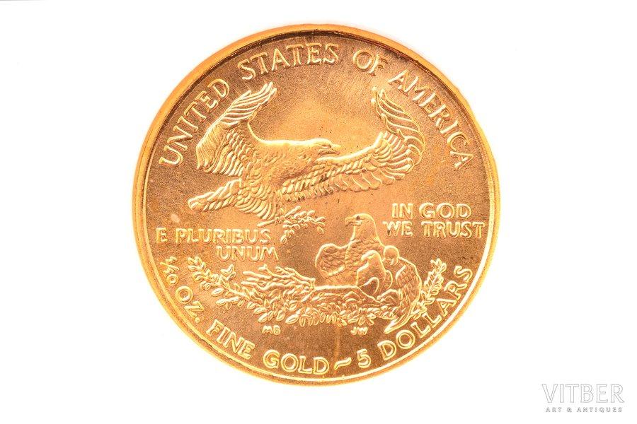 5 долларов, 2001 г., золото, США, MS 69