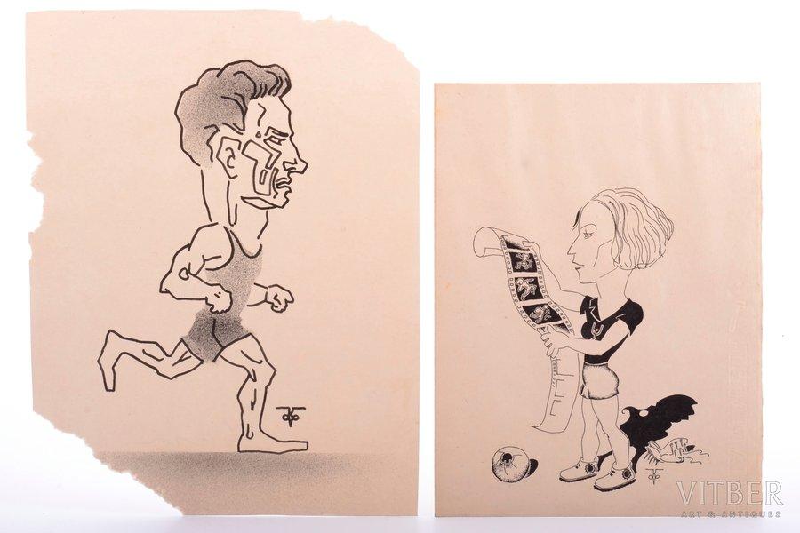 Krisons Valdis, 2 cartoons of sportsmen, paper, graphic, 20 x 15.3 / 23.5 x 18 cm, missing two cornerts on one sheet