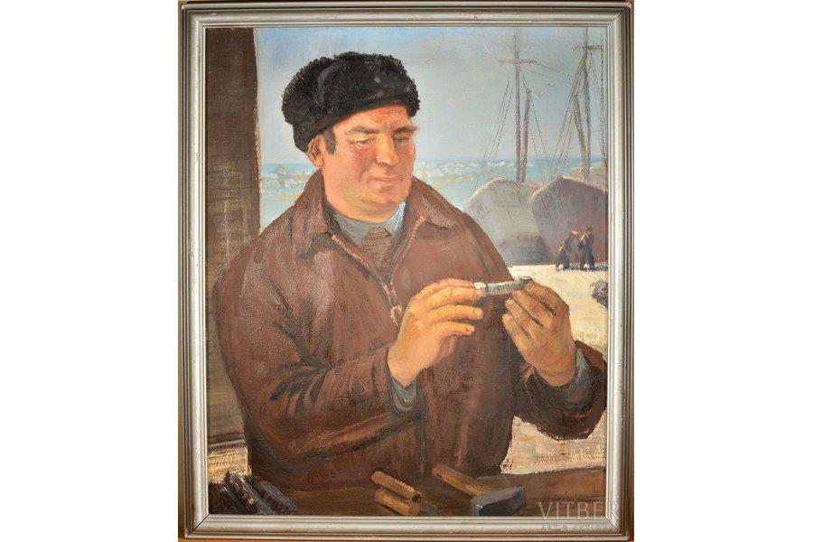 Lejnieks Karlis (1911-1984), Ship mechanic, 1964, canvas, oil, 82x67 cm