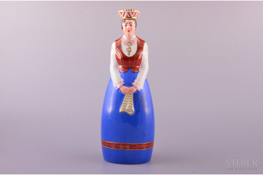 "figurine, liqueur bottle, Girl in traditional costume, ""A/S Ch. Jürgenson - Otto Schwarz"", porcelain, Riga (Latvia), J.K.Jessen manufactory, hand-painted, the 30-40ties of 20th cent., 25.5 cm"