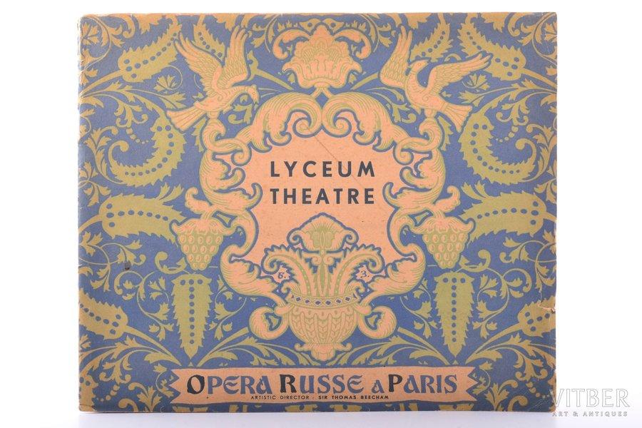"""""""Lyceum theatre. Opera Russe a Paris"""", DĀVINĀJUMA UZRAKSTS, artistic director - Sir Thomas Beecham, 1931 g., """"Vail & Co"""", Londona, 20.5 x 24.5 cm"""