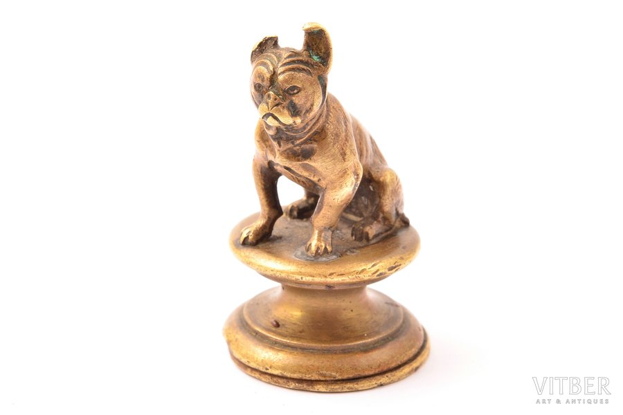 stamp, owner's, with dog figurine, bronze, h - 4.2, Ø - 2.4 cm, weight 48.60 g., the beginning of the 20th cent.