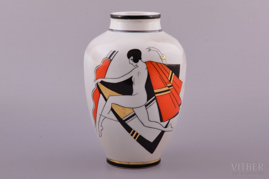 vase, Dance, Art-Deco, porcelain, Burtnieks manufactory, sketch by Sigismunds Vidbergs, Riga (Latvia), 1929-1939, 19.3 cm, restoration of the neck of the vase