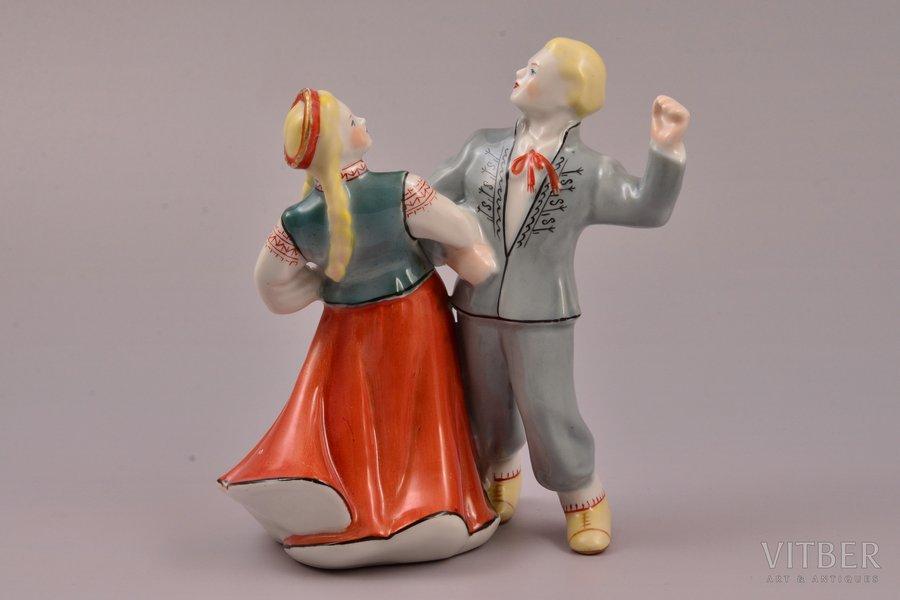 figurine, The Folk Dance, porcelain, Riga (Latvia), USSR, Riga porcelain factory, molder - Ilga Vanaga, 1959, 13.5 cm, top grade
