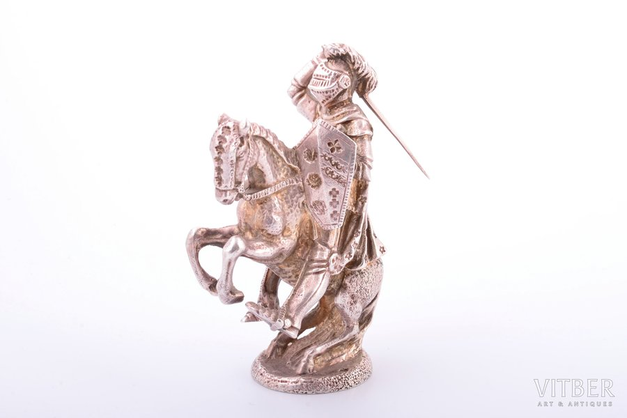 "figurine, silver, ""Knight on a horse"", 950 standart, 345.75 g, France, h - 9.5 cm"