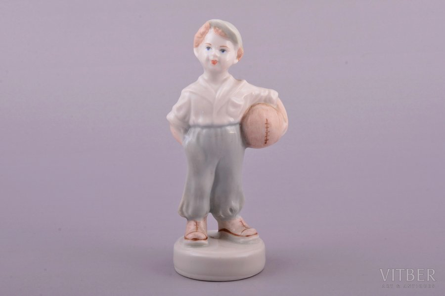 figurine, The young football player, porcelain, Riga (Latvia), USSR, Riga porcelain factory, molder - Zina Ulste, the 50ies of 20th cent., 12.3 cm, first grade