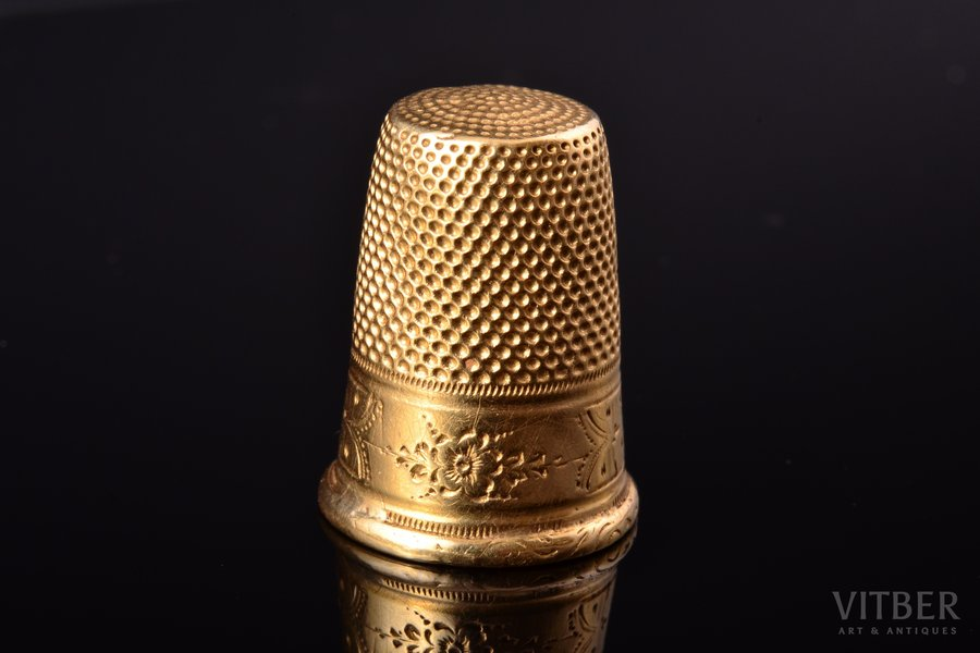 thimble, gold, 18 k standart, 5.82 g., the item's dimensions h 2.4 cm, France