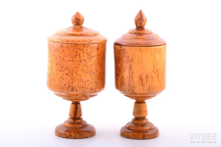pair of cases, Karelian birch, diameter 9.7 / 8.5 cm,  h 20.2 / 19.8 cm