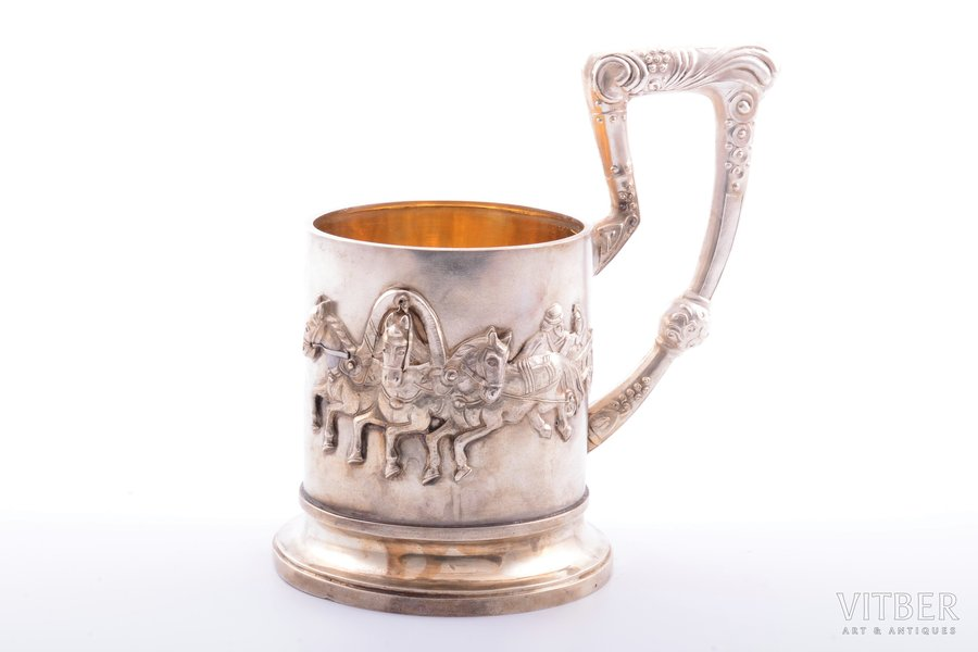 "tea glass-holder, silver, ""Troika"", 84 standart, gilding, Russian Harbin, emigration, 1920-1950, 204.95 g, h (with handle) 13.2 cm, Ø (inside) 6.7 cm"