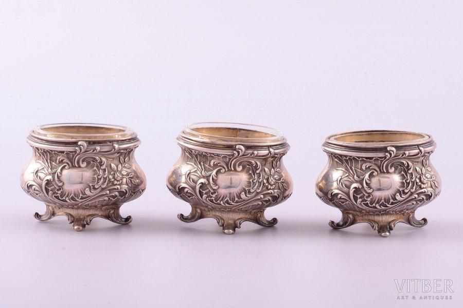 set of 3 saltcellars, silver, 950 standart, glass, silver weight 54.20g , France, 3.9 x 5.3 x 4 cm