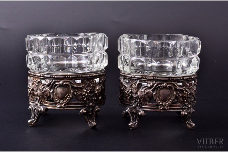set of 2 cocottes, silver, 950 standart, glass, silver weight 69.90g, France, Ø 7.5 cm, h 8.4 cm