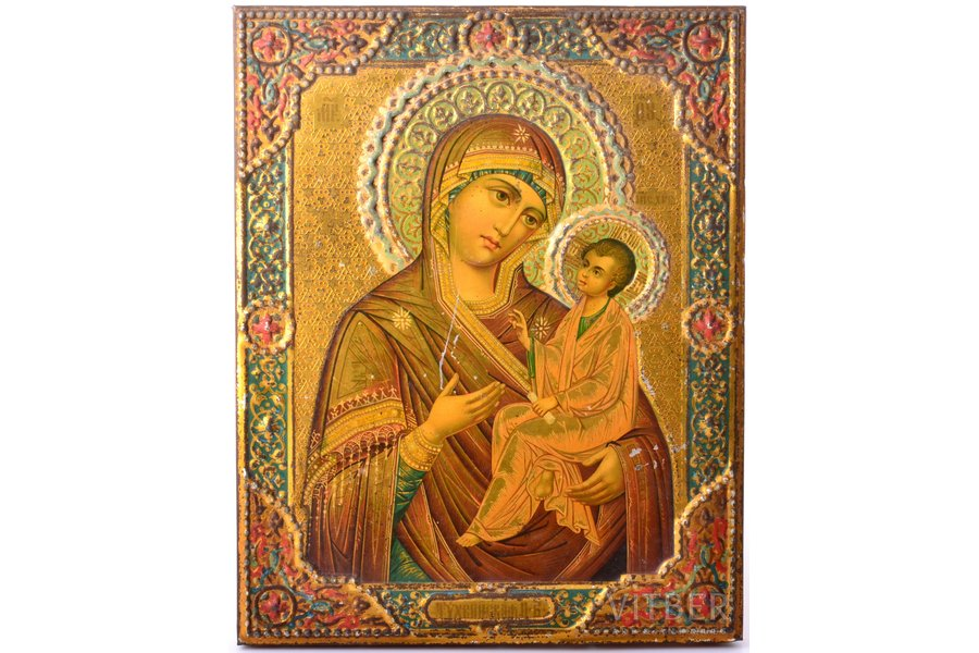 icon, Tikhvin icon of the Mother of God, printed on tin, board, metal, Zhako and Bonaker factory, Russia, the end of the 19th century, 22.1 x 17.7 x 1.3 cm