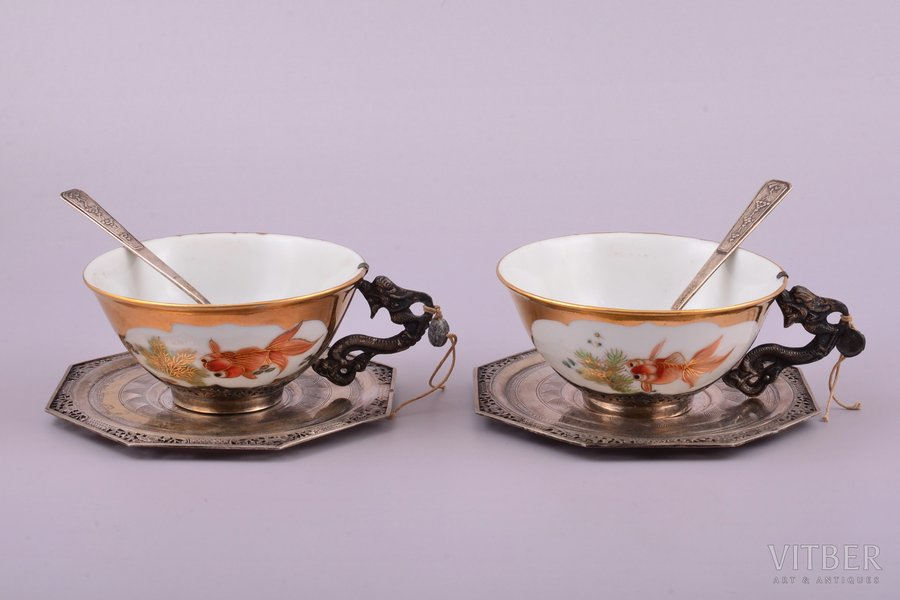 two tea pairs with spoons, silver, 900 standart, engraving, porcelain, hand painting, total weight of items 309.35g, Vietnam, h (cup) 4.5 cm, spoon 10.9 cm, saucer 11x11 cm