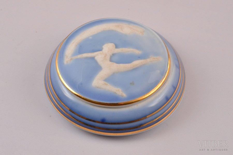 case, Rhythmic gymnast, porcelain, Rīga porcelain factory, Riga (Latvia), USSR, 1953-1962, Ø 7 cm, third grade