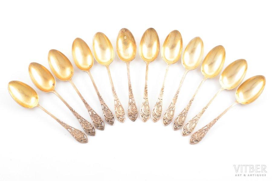 set of 12 teaspoons, silver, 950 standart, gilding, 193.25 g, France, 12 cm
