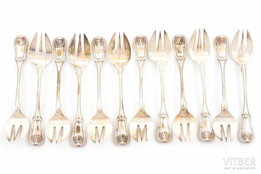set of 12 oyster forks, silver, 950 standart, 331.40 g, France, 12.7 cm