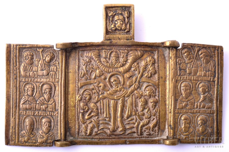 icon with foldable side flaps, Mother of God Joy of All Who Sorrow, copper alloy, Russia, the 19th cent., 6 x 9.2 x 0.2 cm, 41.30 g.