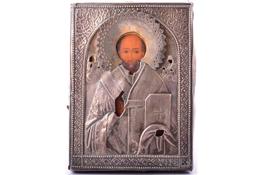 icon, Saint Nicholas the Miracle-Worker, board, silver, painting, guilding, 84 standart, Russia, 1888, 18.2 x 13.3 x 1.3 cm, oklad weight 73.95 g