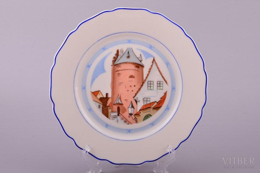 "decorative plate, ""View of the Powder Tower"", porcelain, J.K. Jessen manufactory, signed painter's work, handpainted by Voldemars Bernhards, Riga (Latvia), 1941, Ø 19.2 cm"