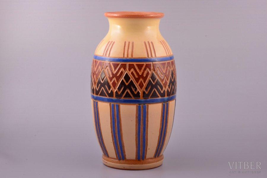 vase, national ornament, RESTORATION, ceramics, M.S. Kuznetsov manufactory, Riga (Latvia), 1934-1940, h 28.1 cm