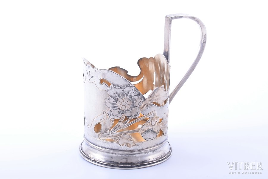 tea glass-holder, silver, Art-Nouveau, 84 standart, engraving, gilding, 1908-1917, 106.80 g, Moscow, Russia, h (with handle) 11 cm, Ø (inside) 6.7 cm