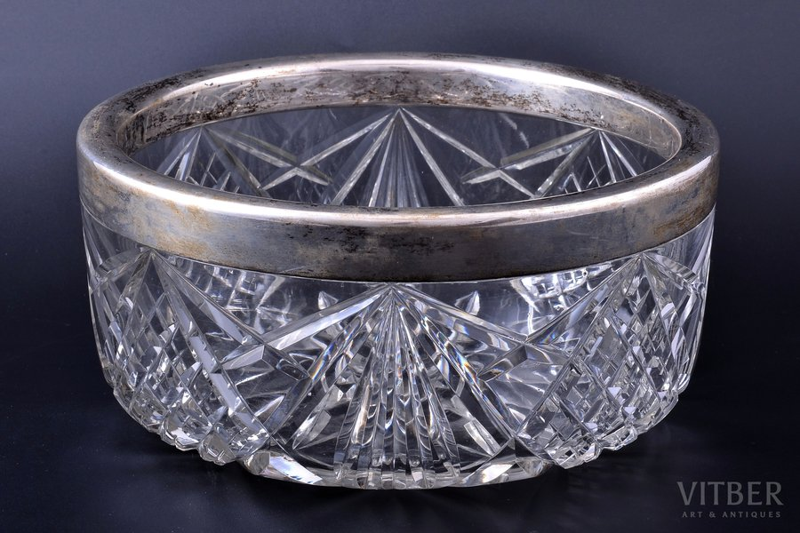 candy-bowl, silver, 800 standart, crystal, Germany, Ø 21.3 cm, h 9.9 cm