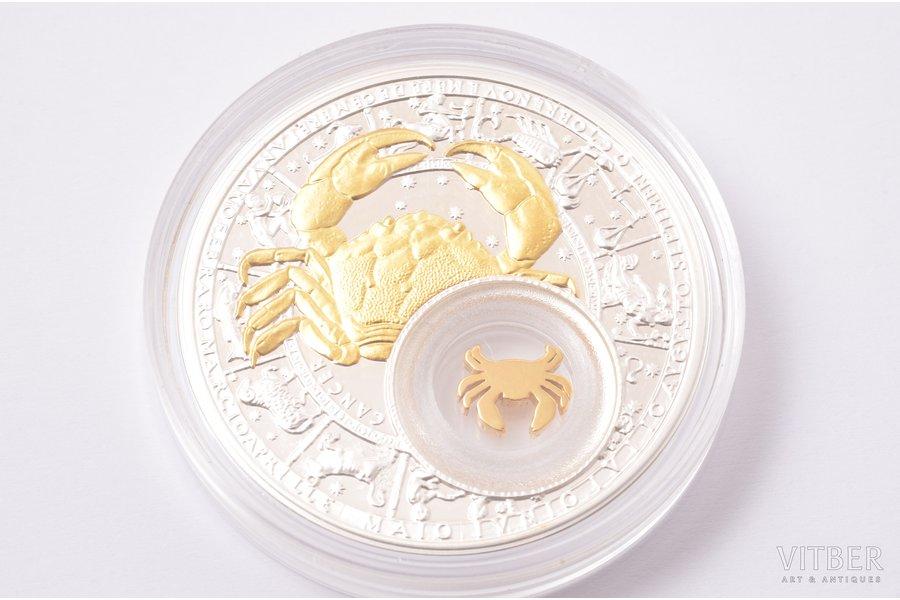 """20 rubles, 2013, Astrological signs, """"Cancer"""", silver, Belarus, 28,28 g, Ø 41 mm, Proof"""