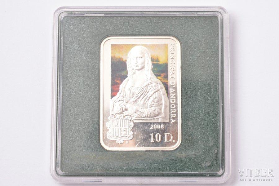 "10 diners, 2008, Leonardo da Vinci ""Mona Lisa"", silver, Andorra, 28.28 g, Ø 40 x 28 mm"