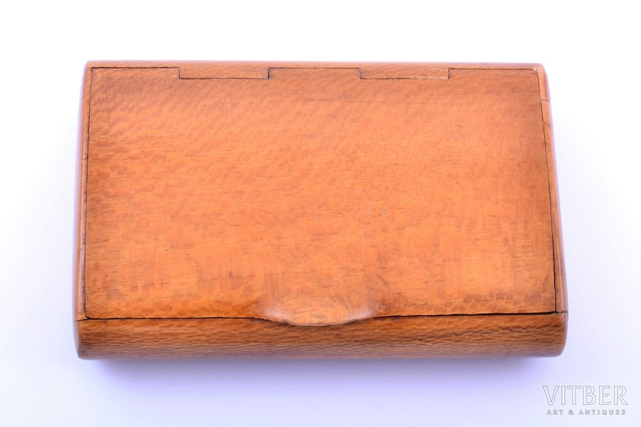 cigarette case, Karelian birch, 8.9 x 5.9 x 1.9 cm