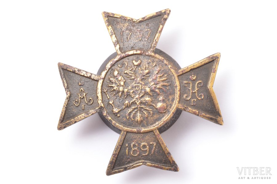 badge, 104th Infantry Regiment of Ustyug, Russia, 1897, 45 x 47 mm