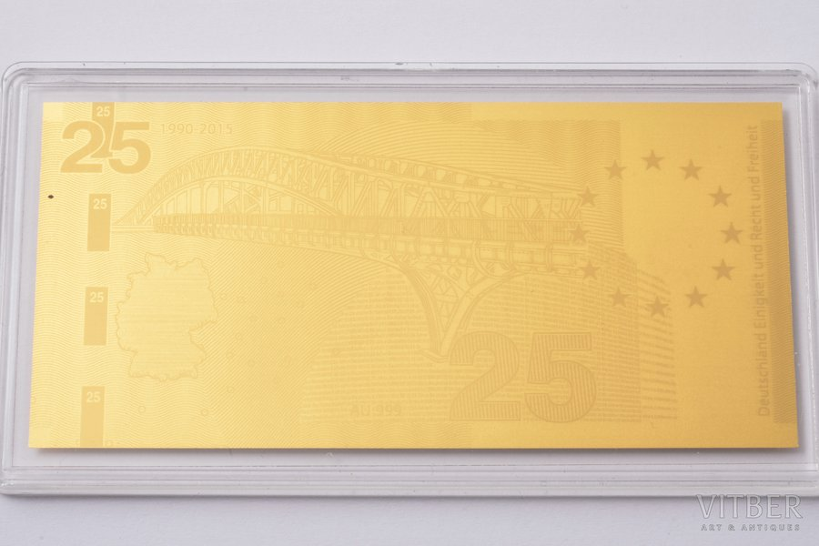 2015, Gold ingot in the shape of a banknote, gold, Germany, 0.5 g, Ø 90 x 43 mm, with a document