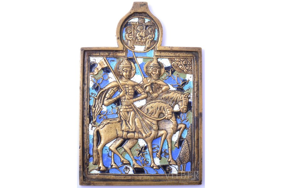 icon, Saints Boris and Gleb, copper alloy, 5-color enamel, Russia, the end of the 19th century, 13.6 x 9.1 x 0.5 cm, 248.35 g.