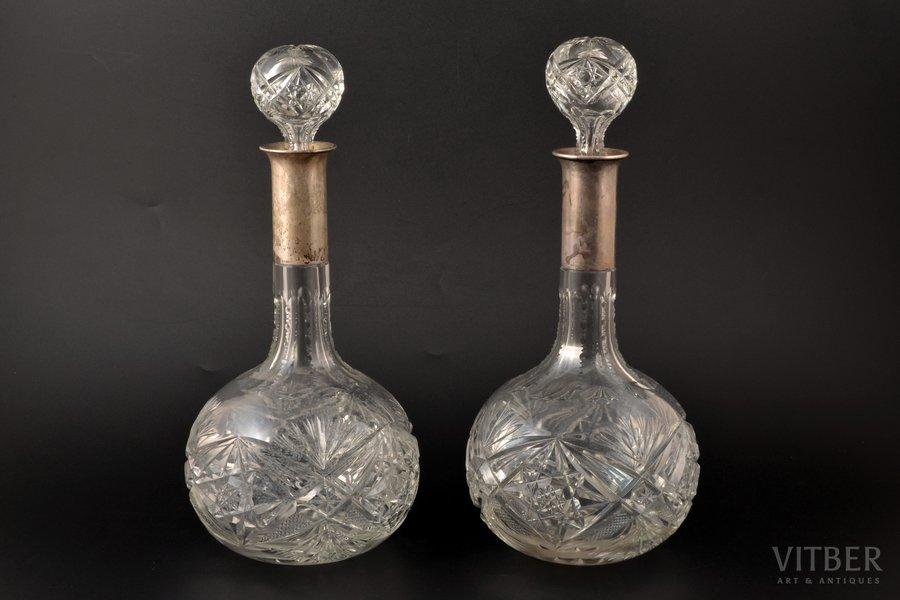 2 carafes, silver, 800 standart, J. Knewitz, Mainz, Germany, h 31 cm