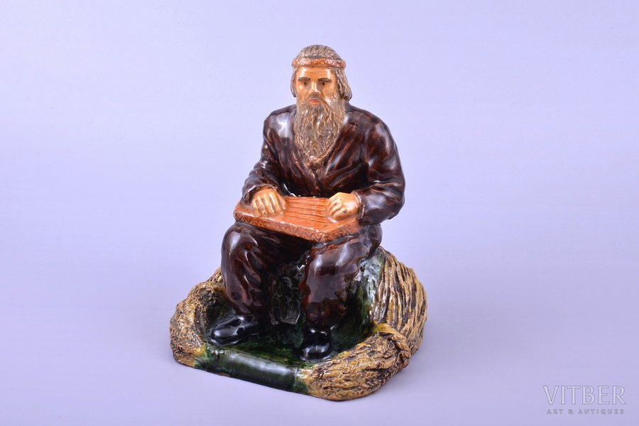 figurine, Kokle player, ceramics, Riga (Latvia), sculpture's work, by Jāzeps Pancehovskis, h 16 cm, with proof of authorship