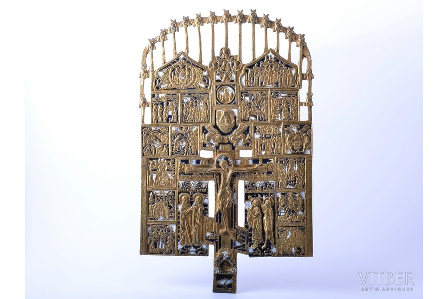 cross, The Crucifixion of Christ, copper alloy, 2-color enamel, Russia, the end of the 19th century, 38.3 x 23.7 x 0.4 cm, 1526 g.