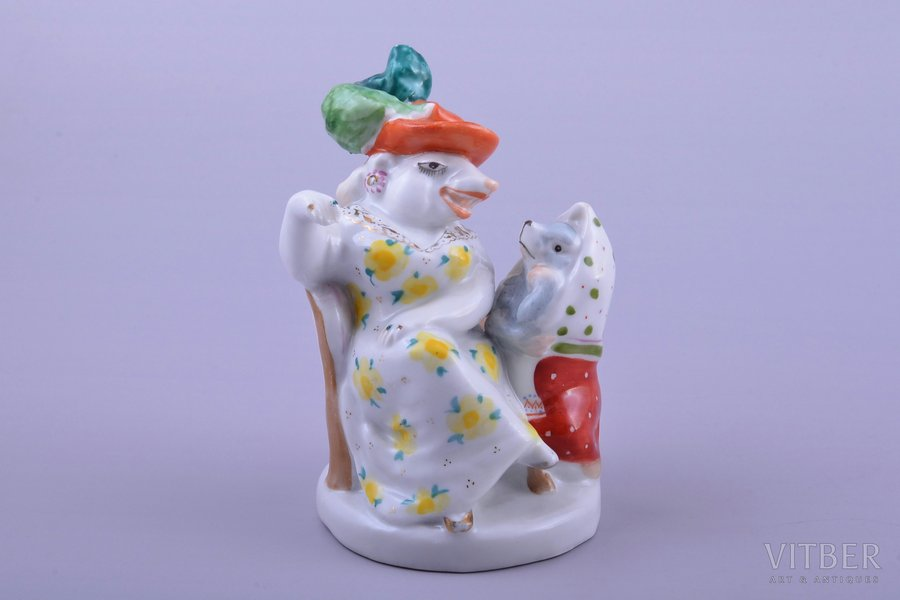 figurine, Rat and mouse, porcelain, USSR, LFZ - Lomonosov porcelain factory, molder - B.Y. Vorobyev, the 50-60ies of 20th cent., h 10.9 cm, top grade, restoration of chip on the bottom, the last photo - before restoration