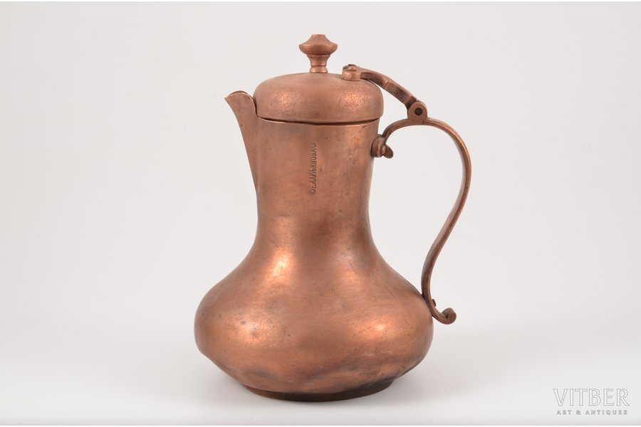 coffee pot, E. Lubimov, copper, h 18 cm, not sealed, with deformation