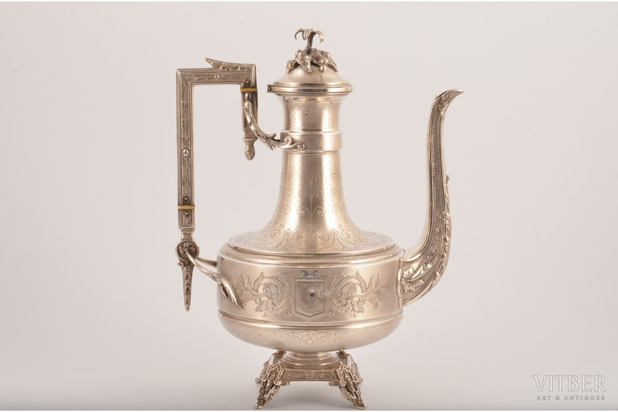 coffeepot, silver, 950 standart, engraving, 621.40 g, France, h 23.9 cm