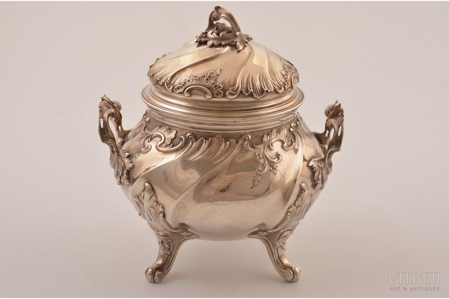 sugar-bowl, silver, FRAY HARLEUX, 950 standart, gilding, 281.65 g, Paris, France, h 12.1 cm