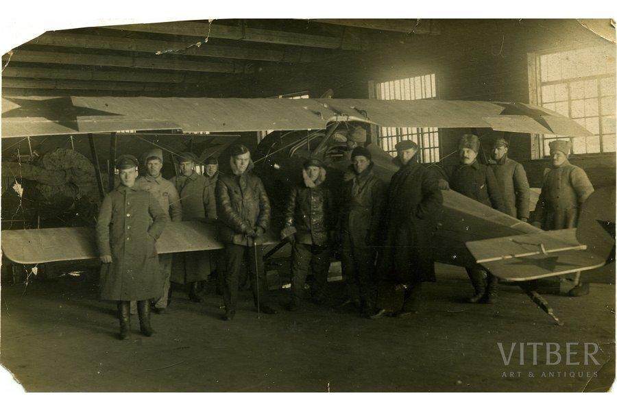 photography, soviet aviators, Vitebsk airport, USSR, beginning of 20th cent., 16,5x10 cm