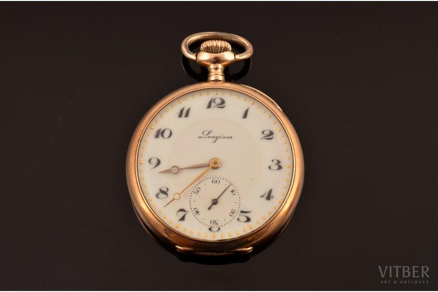 """pocket watch, """"Longines"""", Switzerland, gold, 14 K standart, 32.61 g, 4.3 x 3.5 cm, 30 mm, in order"""