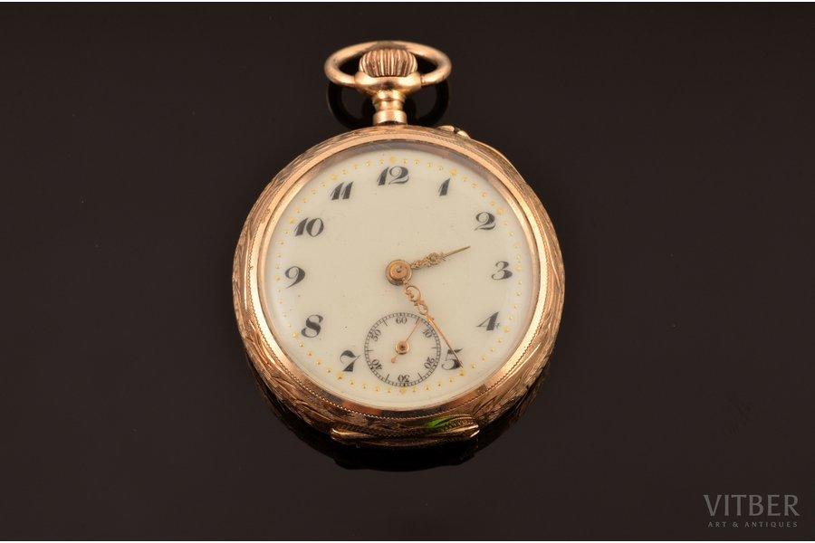 pocket watch, Switzerland, gold, 585 standart, 22.77 g, 3.9 x 3.1 cm, 25 mm, in order