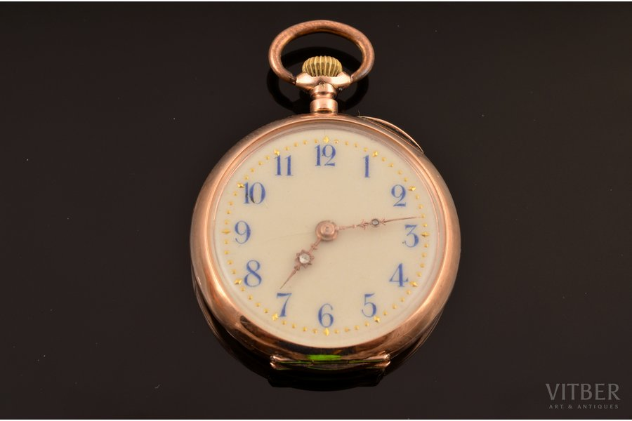 "pocket watch, ""Remontoir"", Switzerland, gold, metal, enamel, 585 standart, 23.07 g, 4 x 3.2 cm, 27 mm, in order"