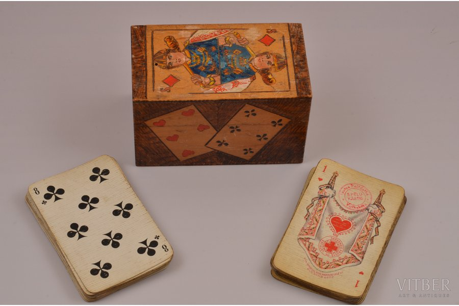 "set of playing cards, Latvian Red Cross, 20-30ties of 20th cent., 5.8 x 9.1 cm, in a box, 2 cards are missing (""5"")"