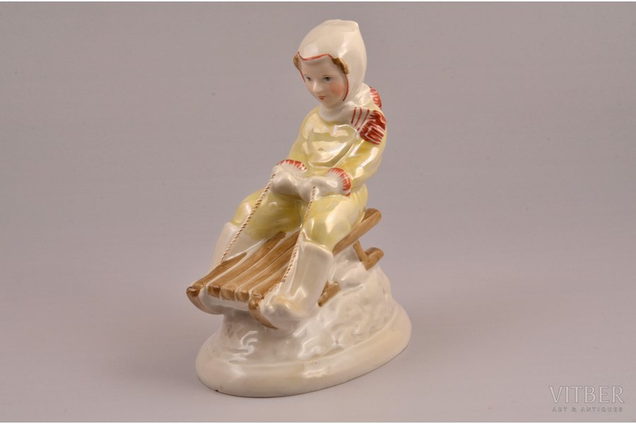 figurine, Girl on a sleigh, porcelain, Riga (Latvia), USSR, Riga porcelain factory, molder - Zina Ulste, the 50ies of 20th cent., 12.2 cm