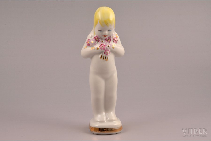 figurine, Girl with flowers, porcelain, Riga (Latvia), USSR, Riga porcelain factory, molder - Vera Veisa, the 70-ties of the 20th cent., 16 cm